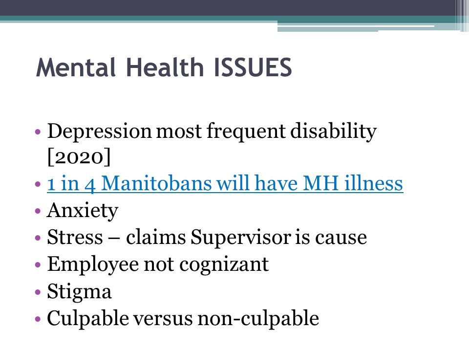 Mental Health ISSUES Depression most frequent disability [2020]